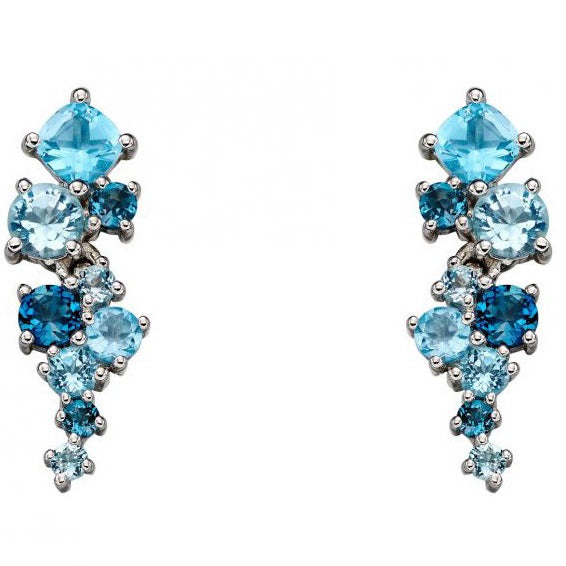 9ct White Gold & Blue Topaz Earrings
