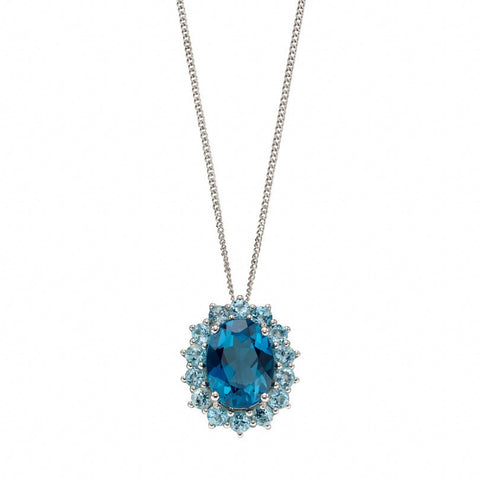 London Blue Topaz and Sky Blue Topaz Pendant in White Gold