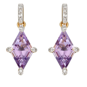 Kite Shaped Earrings with Amethyst and Diamonds in 9ct Yellow Gold