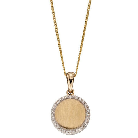 Diamond and Brushed 9ct Yellow Gold Disc Pendant and Chain