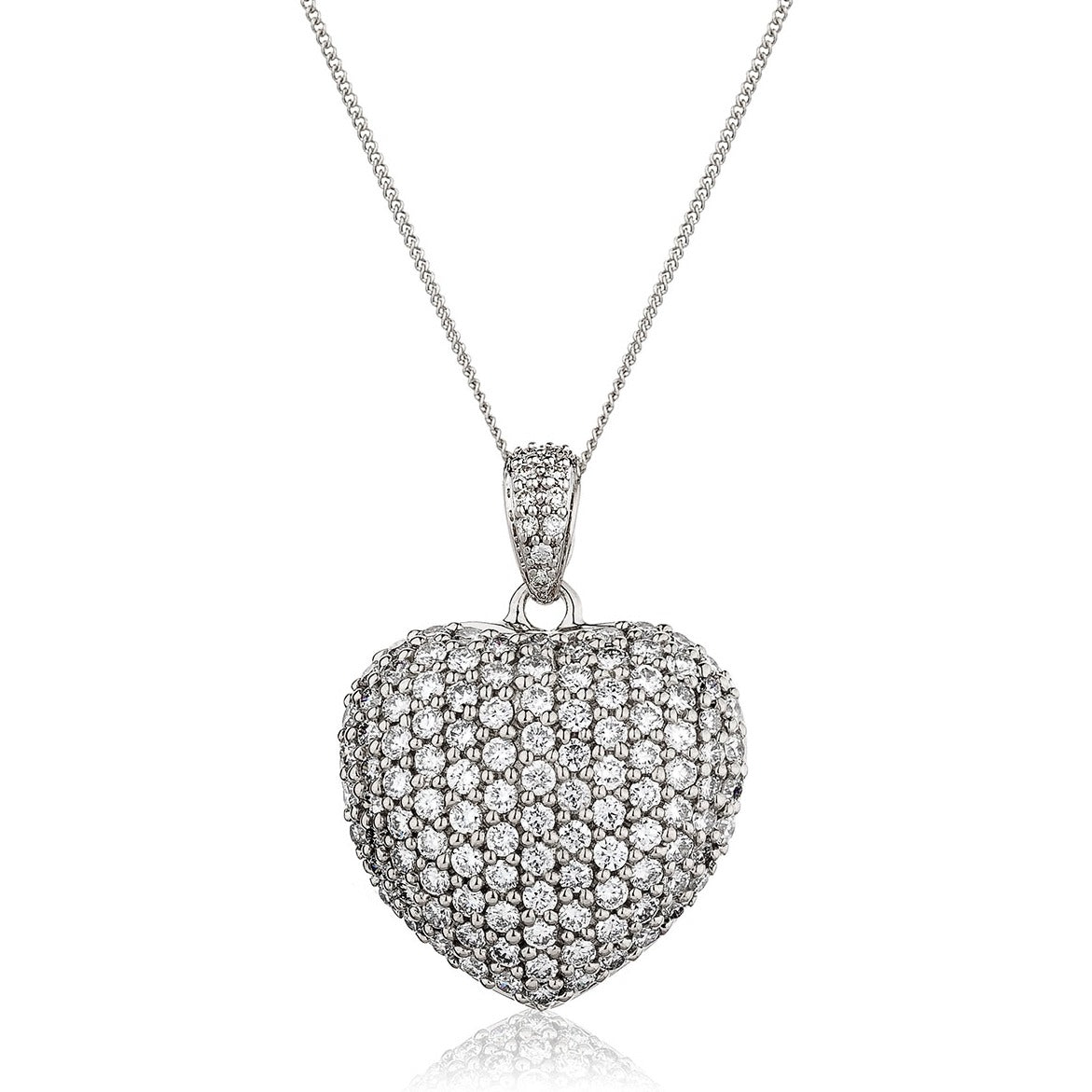 18ct White Gold Pave' Set Diamond Heart Pendant and Chain