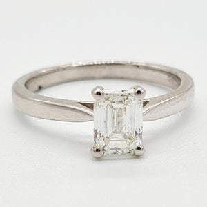 18ct White Gold Emerald Cut Diamond Solitaire Ring (1.02ct)