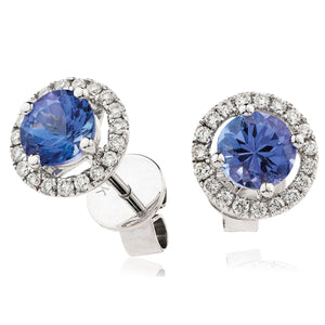18ct White Gold Tanzanite & Diamond Halo Earrings
