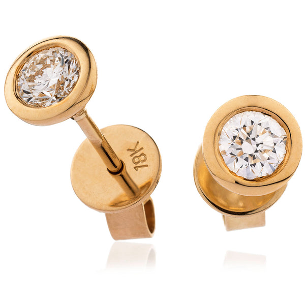 18ct Gold Brilliant Cut Diamond Rub Over Set Stud Earrings (0.20ct - 1.00ct) Available In White & Yellow Gold