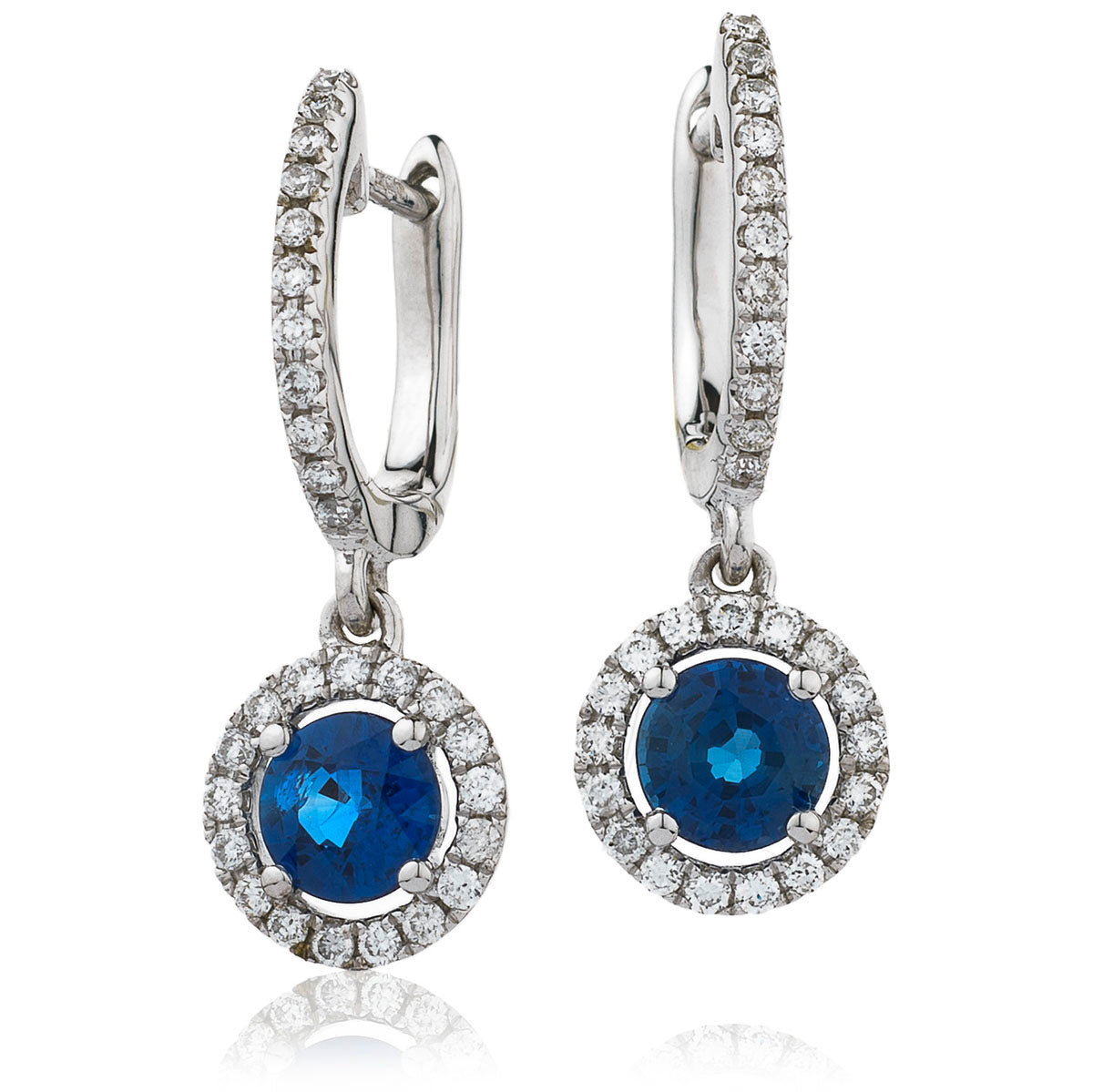 18ct White Gold Sapphire & Diamond Drop Halo Earring