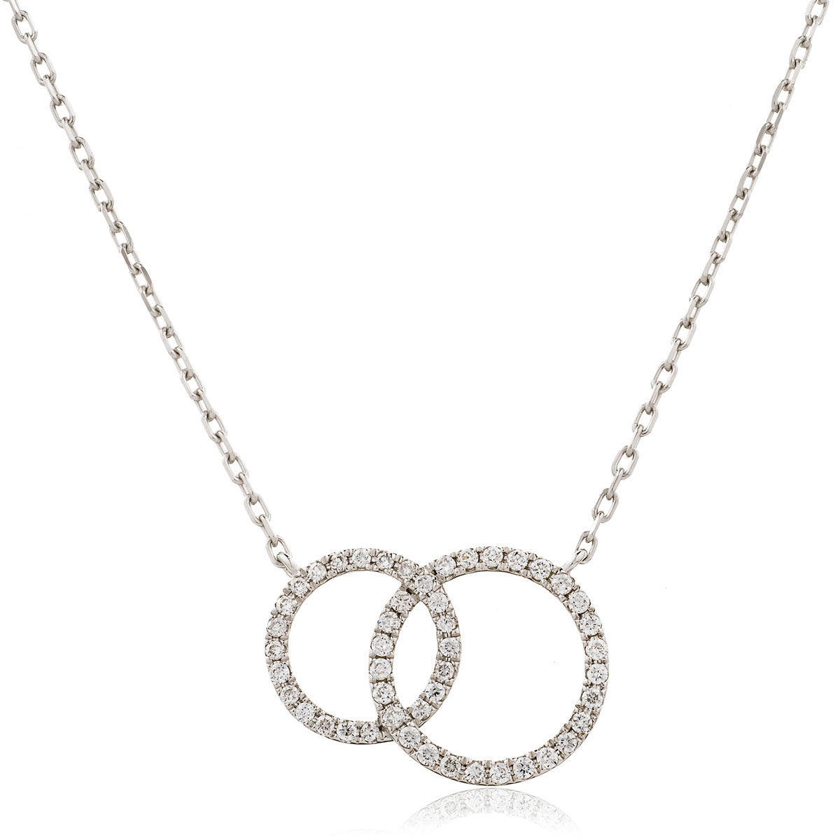 18ct White Gold Diamond Set Double Circle Necklace (0.25ct)