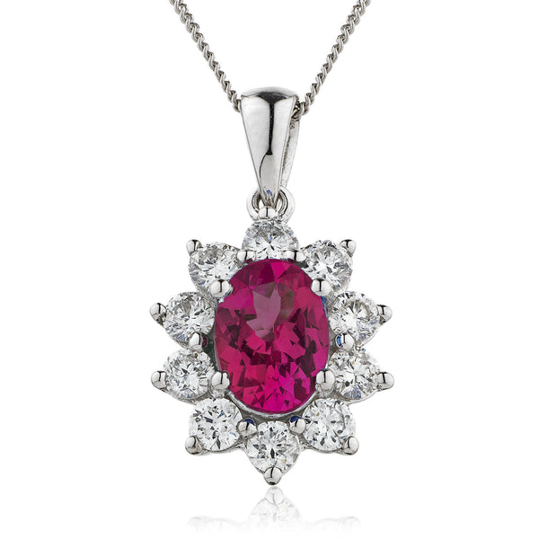 18ct White Gold Diamond Pendant & Chain Available With Sapphire, Ruby & Emerald
