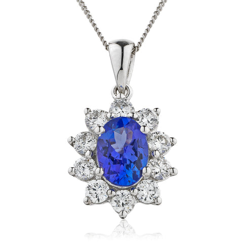 18ct White Gold Tanzanite & Diamond Pendant & Chain (Available In Three Sizes)
