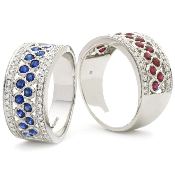 18ct White Gold Diamond Dress Ring (Available With Sapphire Or Ruby)