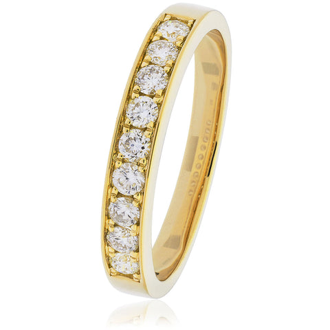 18ct Gold Brilliant Cut Diamond Half Eternity Ring (0.50ct) Available  In White Gold & Yellow Gold