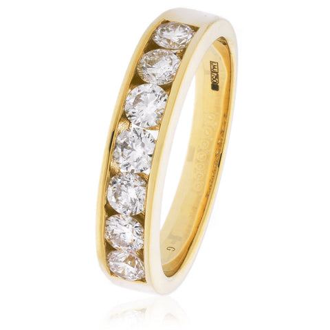 18ct Gold Brilliant Cut Diamond Half Eternity Ring (0.80ct) Available In White Gold & Yellow Gold
