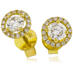 18ct Gold Brilliant Cut Diamond Halo Earrings (0.35ct) Available In White Gold & Yellow Gold