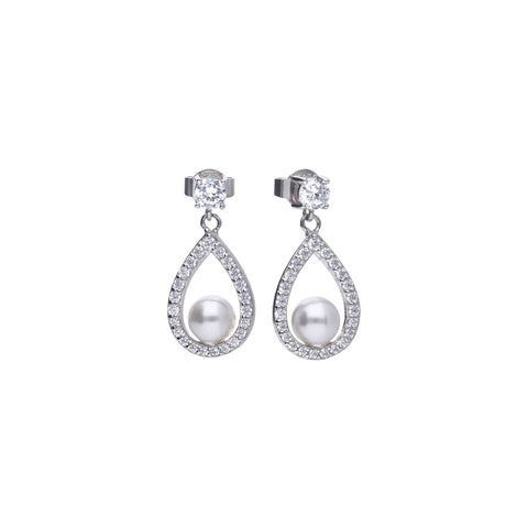 Silver teardrop shape drop earrings with white shell pearls and cubic zirconia