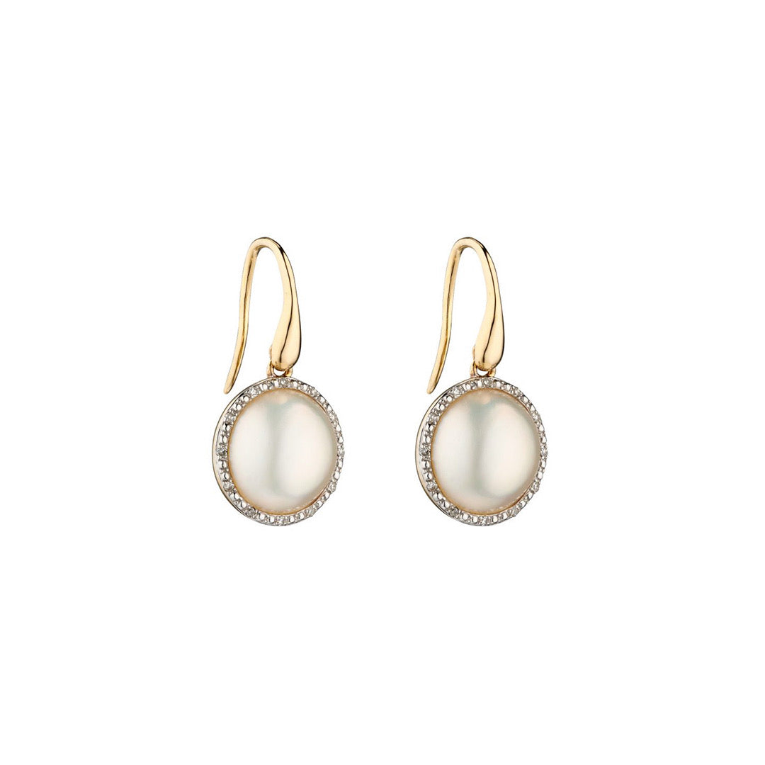 9ct Yellow Gold Mabe Pearl and Diamond Earrings