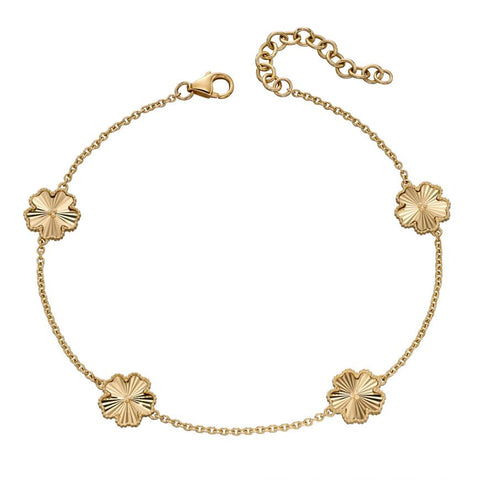 9ct Yellow Gold Flower Granulation Station Bracelet