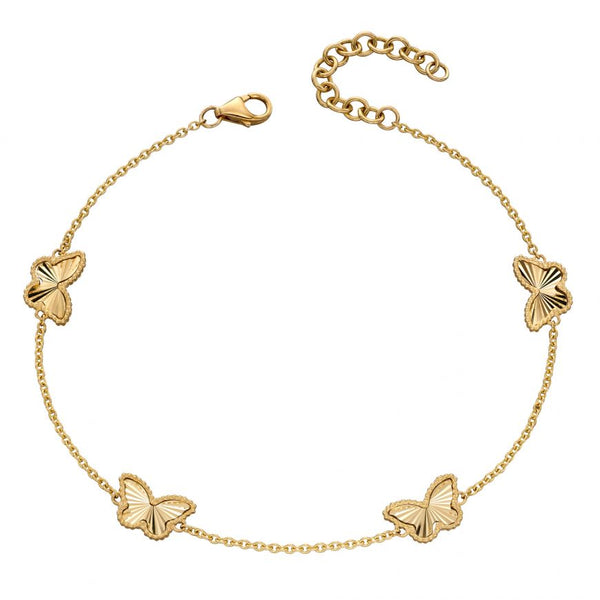9ct Yellow Gold Butterfly Granulation Station Bracelet