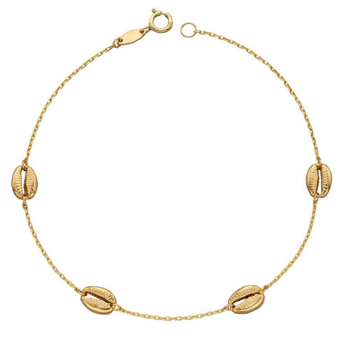 9ct Yellow Gold Cowrie Shell Bracelet