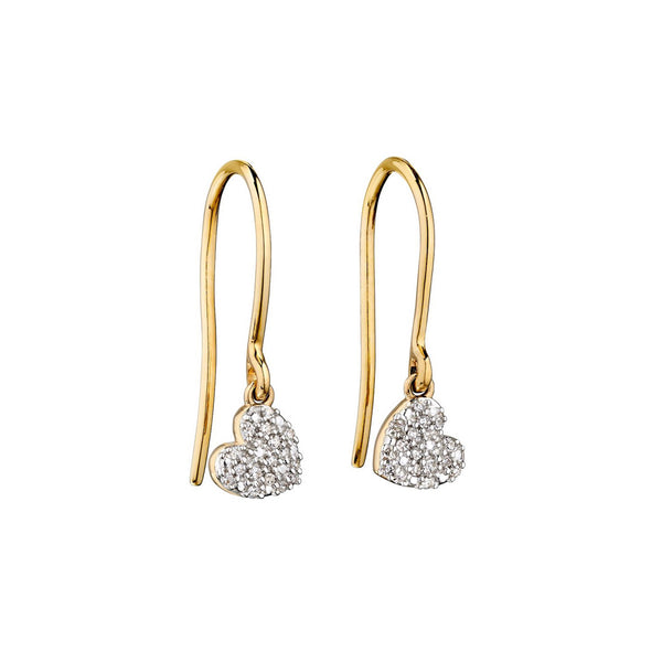 Diamond and Yellow Gold Swinging Heart Earrings