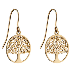 9ct Yellow Gold Ornate Tree Of Life Earrings