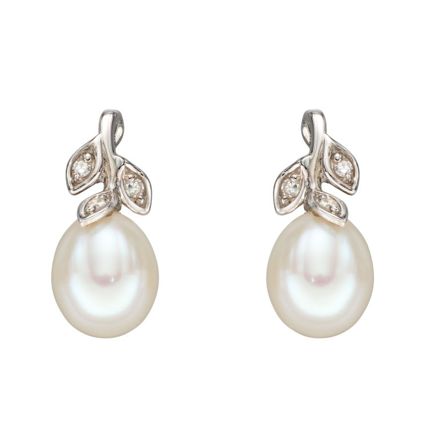 9ct White Gold Fresh Water Pearl Earrings