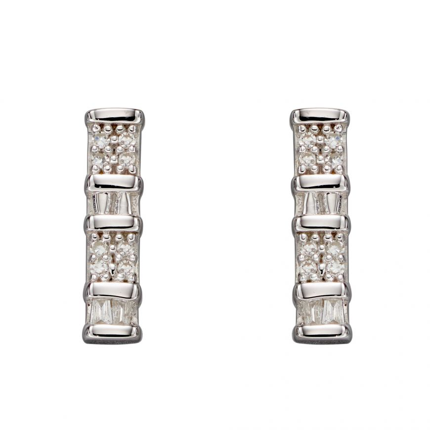 9ct White Gold Baguette Bar Earrings