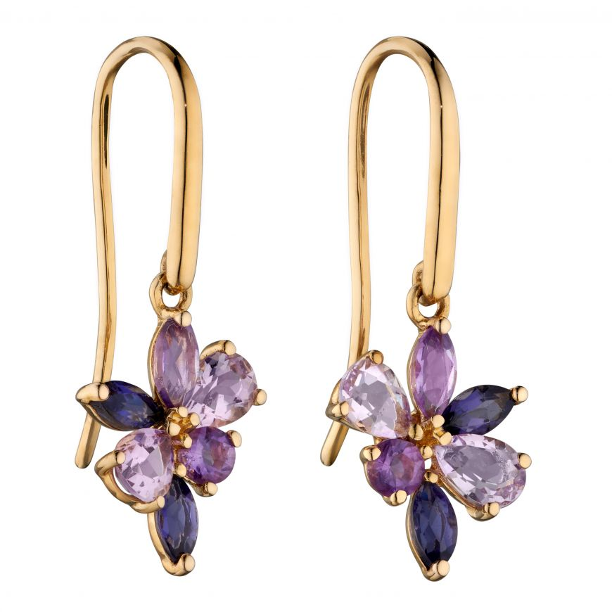 9ct Yellow Gold Amethyst, Iolite And Marquise Teardrop Cluster Earrings