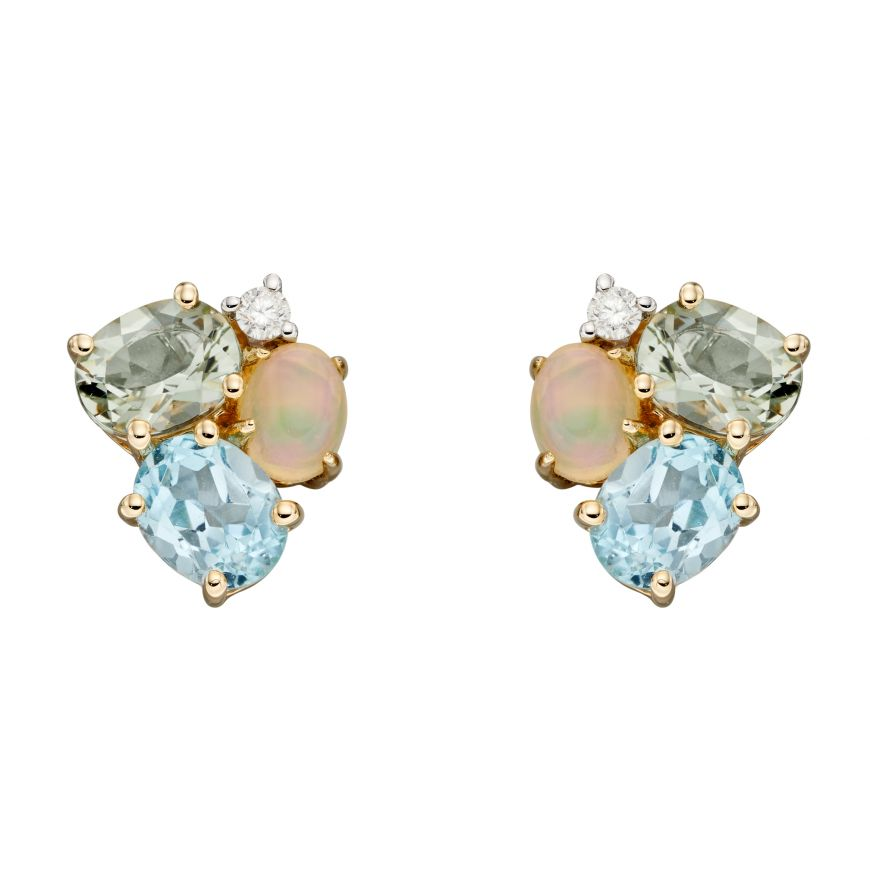 9ct Yellow Gold Opal, Blue Topaz And Green Amethyst Cluster Earrings