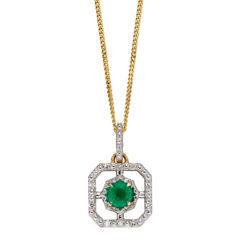 Emerald And Diamond Art Deco Pendant In 9ct Yellow Gold