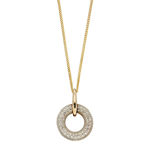 9ct Yellow Gold Circle Diamond Pendant and Chain