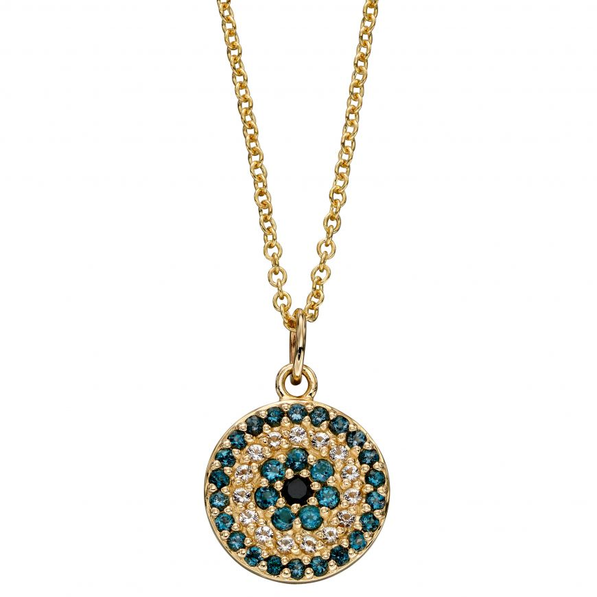 9ct Yellow Gold Evil Eye Pendant With Semi-Precious Stones