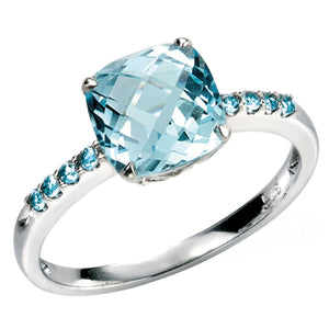 9ct White Gold Sky Blue Topaz And Blue Topaz Ring