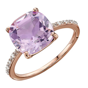 9ct Rose Gold Pink Amethyst And Diamond Ring