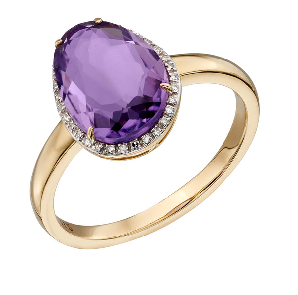9ct Yellow Gold Amethyst And Diamond Ring