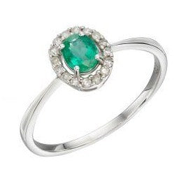 White gold cluster ring with diamonds & green emerald stone