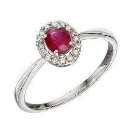 white gold cluster ring with diamonds and red ruby stone