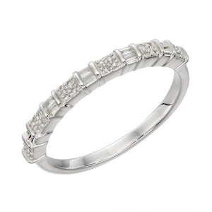 9ct White Gold Baguette Diamond Ring