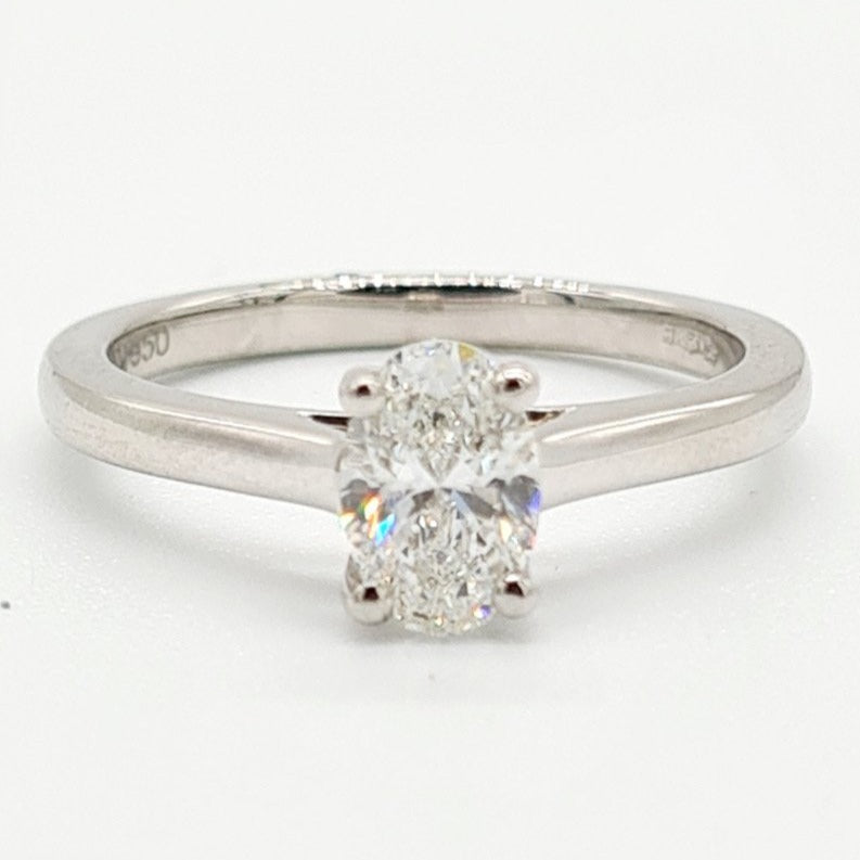 18ct White Gold Oval Diamond Solitaire Ring (0.80ct)