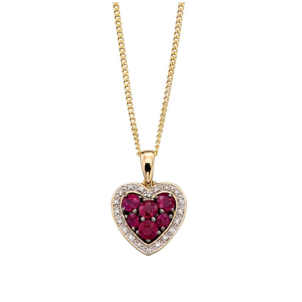 9ct Yellow Gold Ruby and Diamond Heart Pendant
