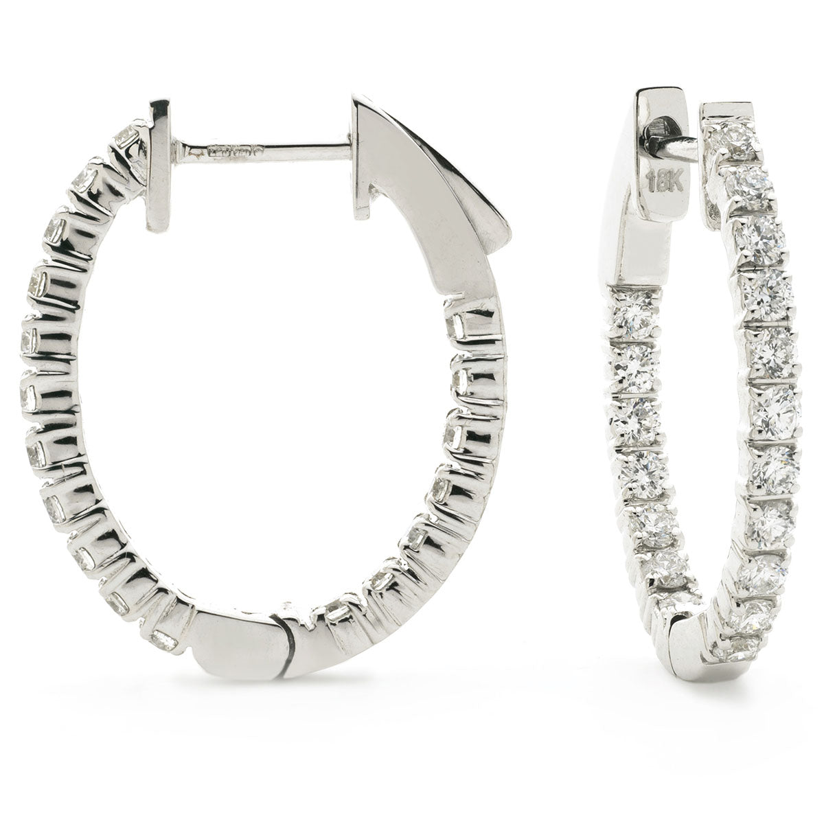 18ct White Gold Front & Back Diamond Set Hoop Earrings