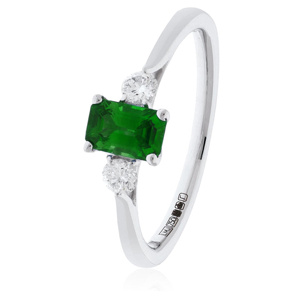 18ct White Gold Three Stone Diamond Ring (Available With Sapphire, Ruby Or Emerald)