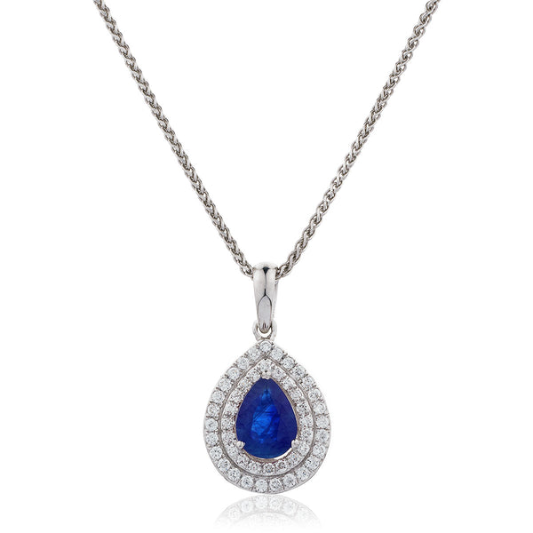 18ct White Gold Diamond Pear Shape Pendant Available In Sapphire, Ruby Or Emerald