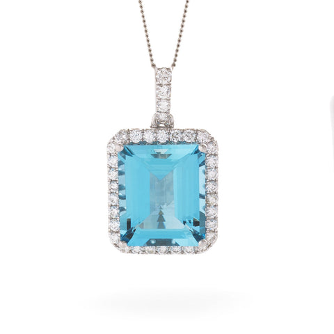 18ct White Gold Aquamarine & Diamond Pendant & Chain