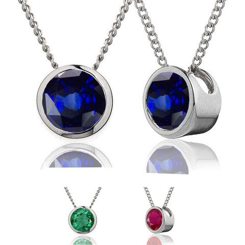 18ct Solitaire Pendant & Chain Available In Sapphire, Ruby Or Emerald