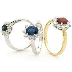 18ct Gold Diamond Cluster Ring Available With Sapphire, Ruby Or Emerald In White Or Yellow Gold