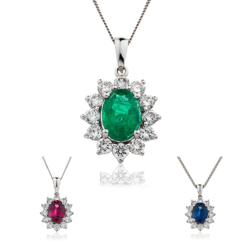 18ct White Gold Diamond Pendant & Chain Available With Sapphire, Ruby Or Emerald