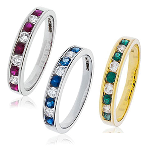 18ct Gold Diamond Channel Set Half Eternity Ring Available With Sapphire, Ruby Or Emerald In White Gold Or Yellow Gold