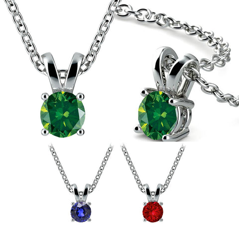 18ct White Gold Solitaire Pendant & Chain Available With Sapphire, Ruby Or Emerald