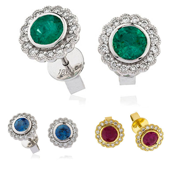 18ct White/Yellow Gold Diamond Halo Earrings Available With Sapphire, Ruby Or Emerald
