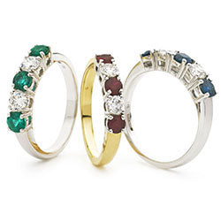 18ct Gold Diamond Five Stone Ring Available With Sapphire, Ruby Or Emerald In White Gold Or Yellow Gold