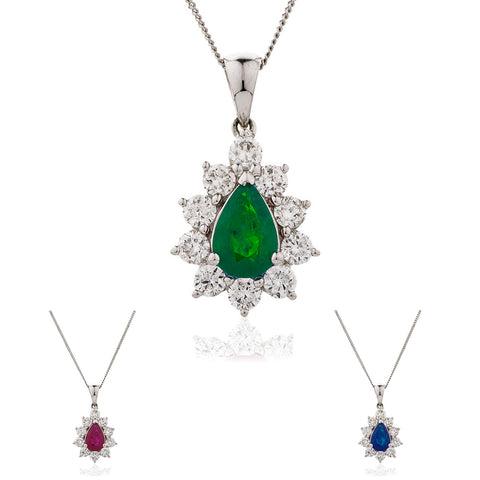 18ct White Gold Diamond Pendant & Chain Available in Sapphire, Ruby Or Emerald